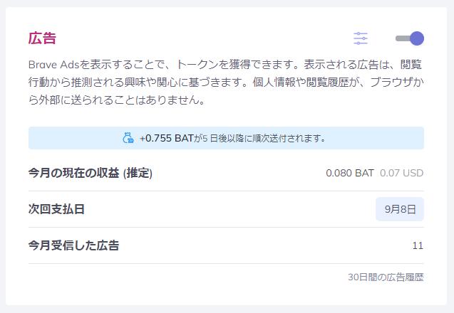 Brave Rewardsで獲得できる報酬BATの推定と実際の誤差を調べてみた